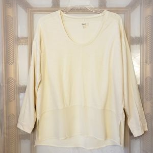 Madewell Oversized Contrast Cotton Silk Blouse Top
